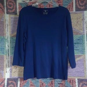 Blue ¾ Sleeve Round Neck T-Shirt